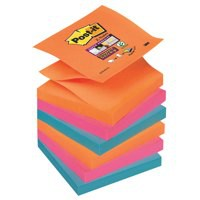 Post-it Super Sticky Z-Notes Pad 90 Sheets Electric Glow 76x76mm Ref R330-6SS-EG [Pack 6]