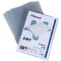 Rexel Superfine Folder Polypropylene Lightweight Cut Flush Copy-secure A4 Clear Ref 12175 [Pack 100]