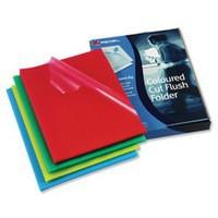 Image for Rexel Cut Flush Folder Polypropylene Copy-secure Embossed Finish A4 Assorted Ref 12216AS [Pack 100]