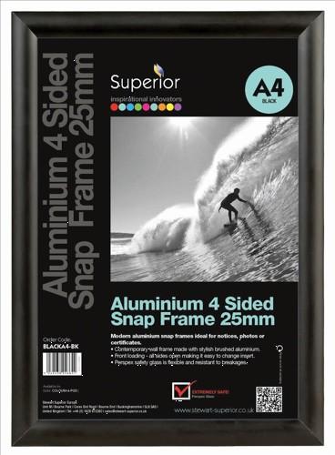 A1 Black Aluminium Snap Frames