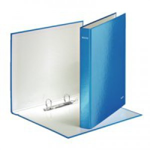 Leitz WOW Ring Binder A4 Maxi 2 D-Ring Size 25mm for 250 Sheets Blue Metallic