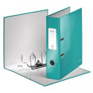 Leitz 180° WOW Lever Arch File A4 Laminated 80mm Ice Blue