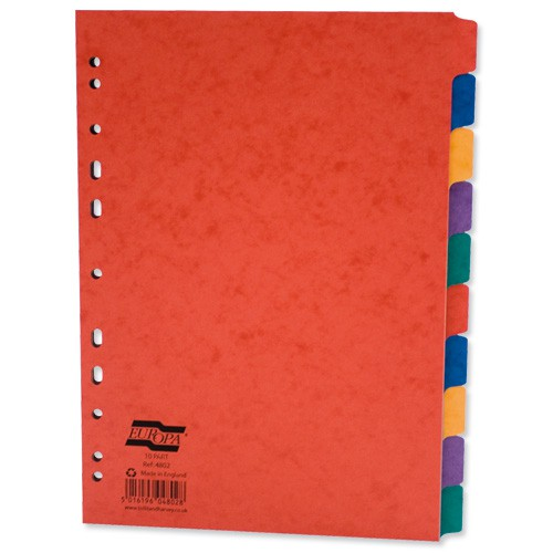 Europa Subject Dividers Pressboard 300 micron Europunched 10 Part A4 Assorted Ref 4802Z [Pack 10]