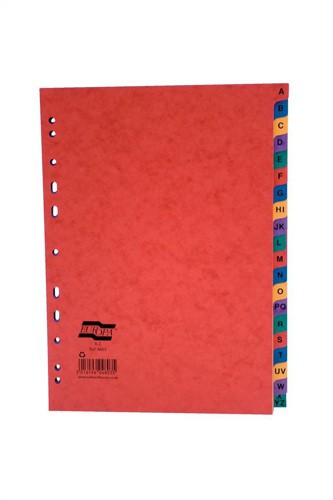 Europa Subject Dividers Pressboard 300 micron Europunched A-Z A4 Assorted Ref 4803Z [Pack 5]