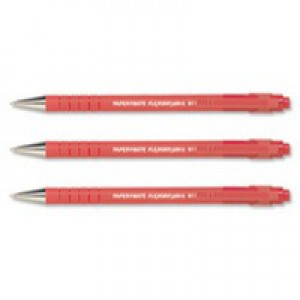 Paper Mate Flexgrip Ultra Ball Point Pen Medium 1.0mm Tip 0.4mm Line Red Ref S0190133 [Pack 12]