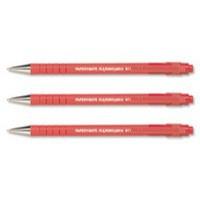 Paper Mate Flexgrip Ultra Ball Point Pen Medium 1.0mm Tip 0.4mm Line Red Ref S0190133 [Pack 12]