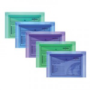 Snopake Polyfile Electra Wallet File Polypropylene Foolscap Assorted Pack 5 Code 10088