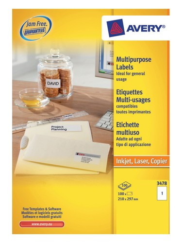 Avery Copier Labels 210x297mm 1 per Sheet A4 White 100 Labels Code 3478-100