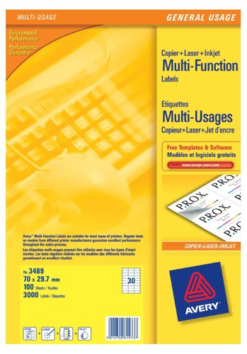 Avery Copier Labels 70x30mm 30 Per Sheet White 3000 Labels Code 3489-100