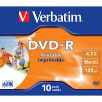 Verbatim DVD-R Recordable Disk Write-once Inkjet Printable Cased 16x 120min 4.7Gb Ref 43521 [Pack 10]