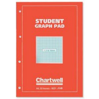 Image for Chartwell Student Graph Pad 70gsm 1mm 5mm 10mm Grid 50 Sheets A4 Orange Cover Ref J14BZ [Pack 10]
