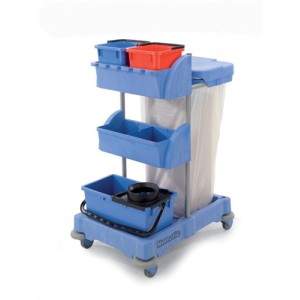 Numatic Xtra-Compact XC-1 Cleaning Trolley with 3 Buckets and 2 Tray Units W570xD820xH1060mm Ref XC1/TM