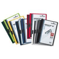 Durable Duraclip Folder PVC Clear Front 3mm Spine for 30 Sheets A4 Petrol Green Ref 2200/32 [Pack 25]