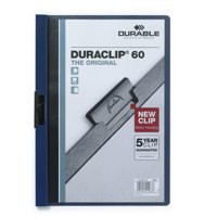 Durable Duraclip Folder PVC Clear Front 6mm Spine for 60 Sheets A4 Dark Blue Code 2209/28
