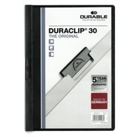 Durable Duraclip Folder PVC Clear Front 3mm Spine for 30 Sheets A4 Black Ref 2200/01 [Pack 25]