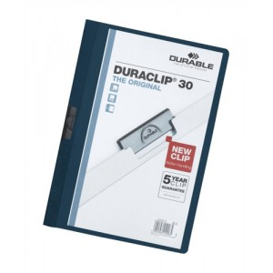 Durable Duraclip Folder PVC Clear Front 3mm Spine for 30 Sheets A4 Dark Blue Code 2200/28
