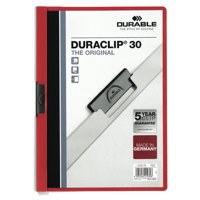 Durable Duraclip Folder PVC Clear Front 3mm Spine for 30 Sheets A4 Red Ref 2200/03 [Pack 25]