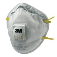 3M Respirator Valved FFP1 Classification White with Yellow Straps Ref 8812 [Pack 10]