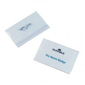 Durable Name Badges with Pin 40x75mm Ref 8008 [Pack 100]
