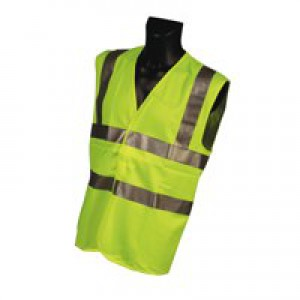 Dealer Workwear High Visibility Vest Polyester Large Yellow Code DWHVYL