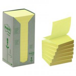 Post-it Z-note Tower Recycled 100 Sheets per Pad 76x76mm Yellow Ref R330-1T [Pack 16]