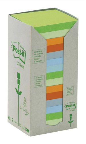 Post-it Z-Note Tower Recycled 100 Sheets per Pad 76x76mm Pastel Assorted Ref R330-1RPT [Pack 16]