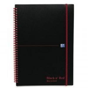 Black n Red Meeting Book Plastic Wirebound Rear Elasticated 3-Flap Folder A4plus Ref 100104323 [Pack 5]