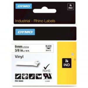 Dymo RhinoPRO Industrial Tape 1500 Coloured Vinyl 9mm White Ref 18443 S0718580