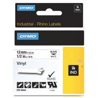 Dymo RhinoPRO Industrial Tape 1500 WT Coloured Vinyl 12mm White Ref 18444 S0718600