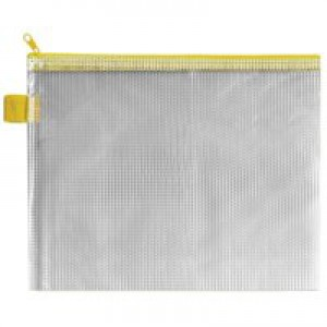 INDX Zip Pouch Reinforced Mesh-weave PVC Clear with Coloured Seal 240x15x190mm A5 Yellow