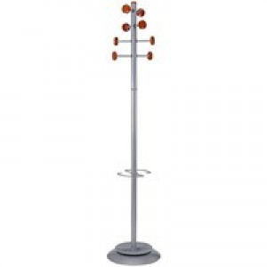 Hat and Coat Stand Tubular Steel with Umbrella Holder and 8 Pegs
