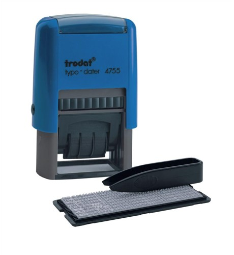 Trodat Printy Typo 4755 Dater Stamp with D-I-Y Text Self-Inking 4mm Line 40x23mm Red and Blue Ref 62946