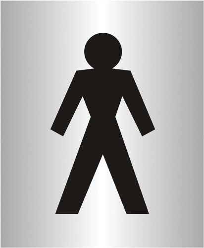 Gentlemen Logo Sign Brushed Aluminium Acrylic 150x115mm