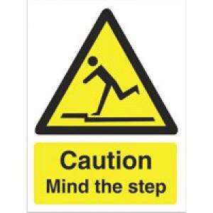 Stewart Superior Caution Mind The Step Sign Self Adhesive Vinyl 150x200mm Ref WO131SAV