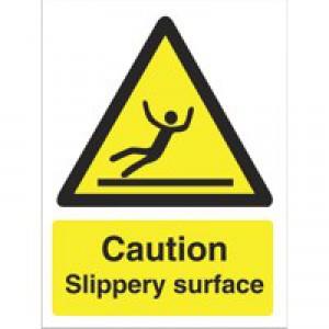 Stewart Superior Caution Slippery Surface Sign Self Adhesive Vinyl 150x200mm Code WO134SAV
