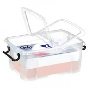 Strata Smart Box Clip-On Folding Lid Carry Handles 12 Litre Clear Ref HW671CLR