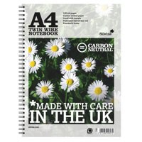 Silvine Notebook Carbon Neutral Perforated Twin Wire Punched 4 Holes 120 Pages A4 Ref R302 [Pack 5]