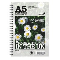 Silvine Notebook Carbon Neutral Perforated Twin Wire Punched 2 Holes 120 Pages A5 Ref R303 [Pack 5]