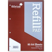 Silvine A4 Refill Pad Headbound Perforated Punched Feint Ruled 160 Pages Code A4RPF