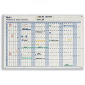 Mark-it Perpetual Year Planner Laminated with Repositionable Date Strips W900xH600mm Ref PYP