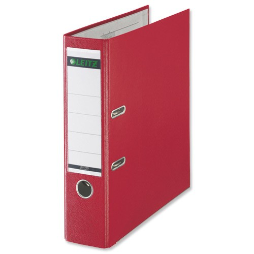 Leitz Lever Arch File Plastic 80mm Spine Foolscap Red