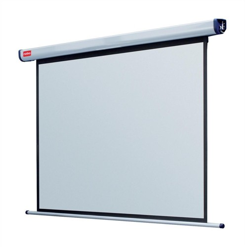 Nobo Projection Screen Electric Wall-mounted Rolling IR Remote 2000mm Diagonal Matt White Ref 1901971