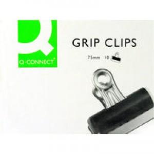 Q-Connect 75mm Black Grip Clip Pk10