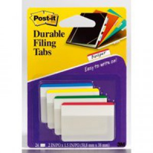 Post-it Index Filing Tabs Strong Flat 51x38mm Six Each of 4 Colours Assorted Ref 686-F1 [Pack 6]