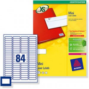 Avery Mini Labels Laser 84 per Sheet 46x11.1mm White Ref L7656-100 [8400 Labels]