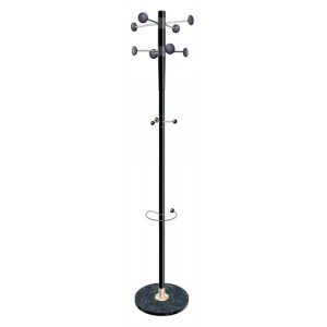 Decorative Coat Stand Solid Head Steel Post Umbrella Stand Double Pegs Black