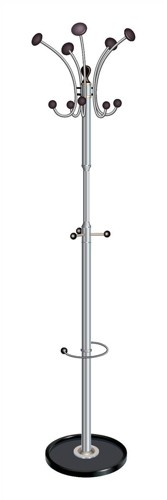 Revolving Coat Stand Revolving Head 12 Pegs Black Chrome