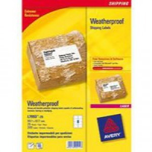 Avery Weatherproof Shipping Labels Laser 8 per Sheet 99.1x67.7mm Ref L7993-25 [200 Labels]