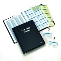 Durable Visitors Book Leather Look 100 Badge Inserts 80gsm W90xH60mm Ref 1463-00