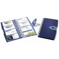 Durable Visifix Business Card Album 4 Ring A-Z Index Capacity 200 W145xH255mm Dark Blue Ref 2385-07